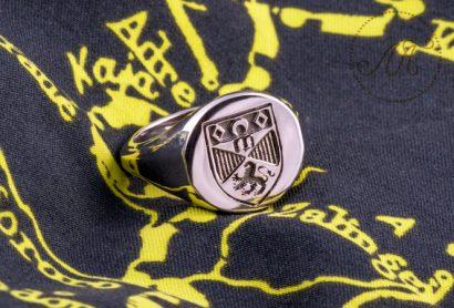 Мужская печатка из белого золота с гербом