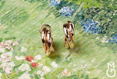 Золотые серьги Тринити