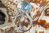 Кольцо из белого золота с голубым топазом