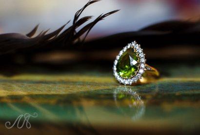 Золотое кольцо с турмалином и бриллиантами