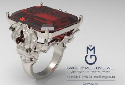 кольцо из белого золота с камнем