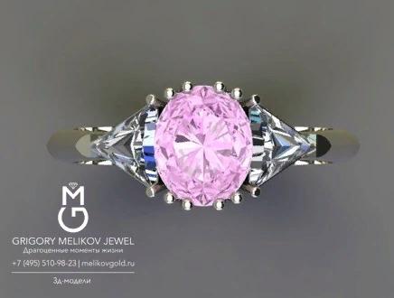 Золотое кольцо с розовым сапфиром и бриллиантами